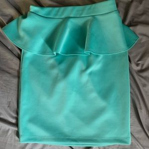 Turquoise peplum skirt